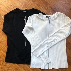 Express Ribbed Zipper Cardigan Sweaters (Lot of 2)